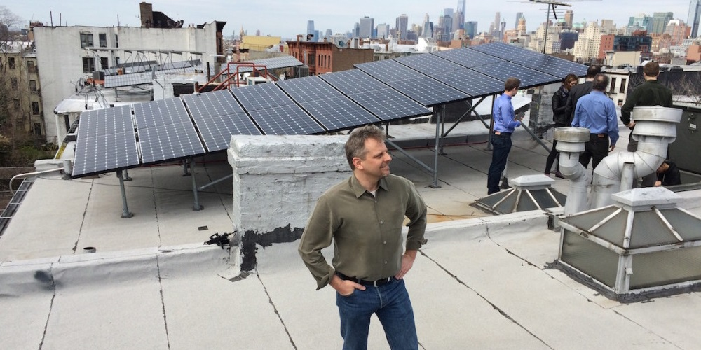 Lawrence Orsini founder and CEO of LO3 Energy on a Brooklyn rooftop